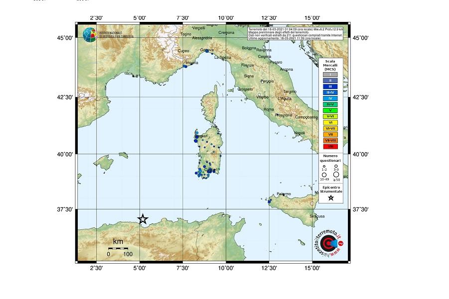 Risentimento sismico in Italia del terremoto in Algeria del 18 marzo 2021