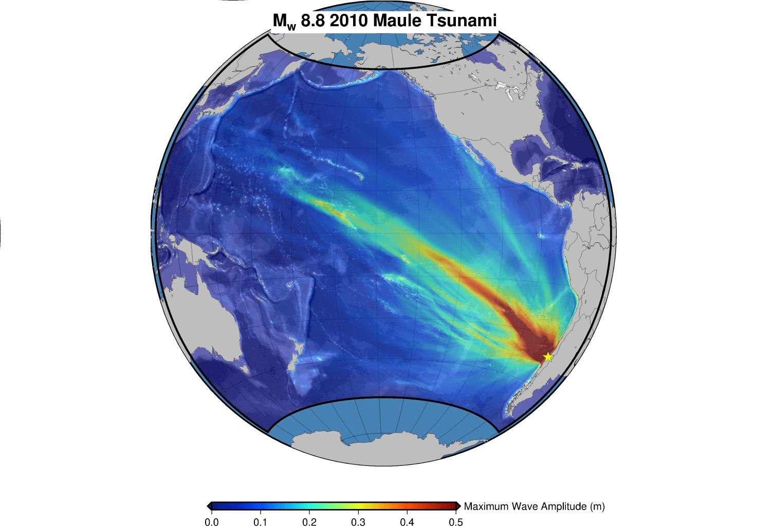 Ampiezze massime simulate dello tsunami del Maule nell'Oceano Pacifico.
